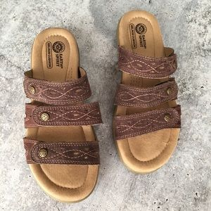 Earth spirit brown suede leather sandals 7.5